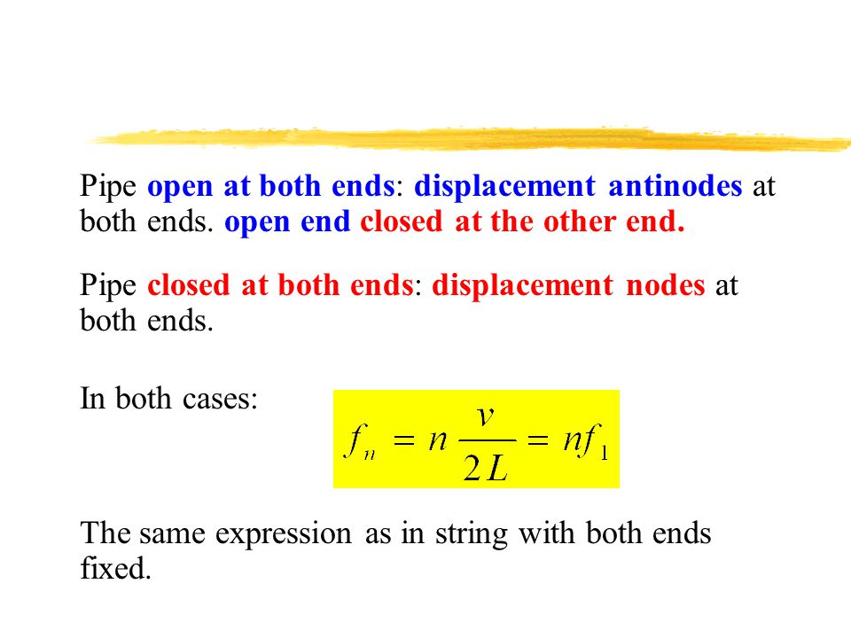 Pipe open at both ends: displacement antinodes at both ends.