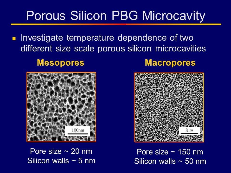 Porous Silicon PBG Microcavity Investigate temperature dependence of two different size scale porous silicon microcavities Pore size ~ 20 nm Silicon walls ~ 5 nm Pore size ~ 150 nm Silicon walls ~ 50 nm MesoporesMacropores