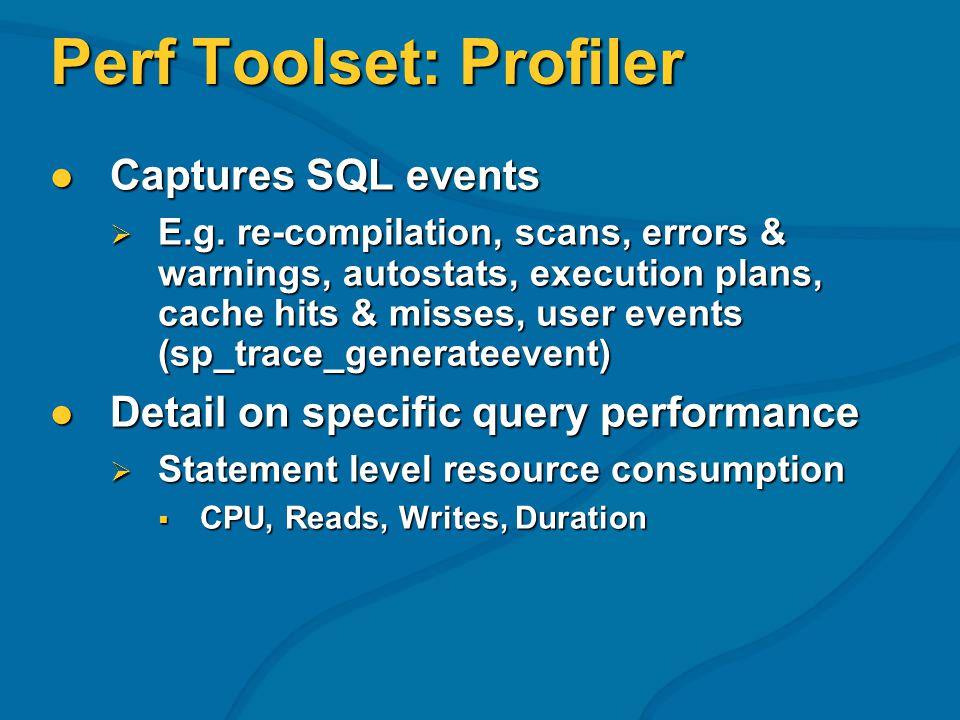 Perf Toolset: Profiler Captures SQL events Captures SQL events E.g.
