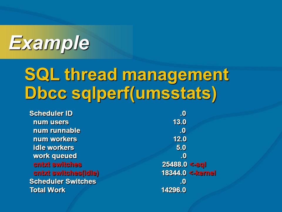 SQL thread management Dbcc sqlperf(umsstats) Example Example Scheduler ID.0 num users 13.0 num users 13.0 num runnable.0 num runnable.0 num workers 12