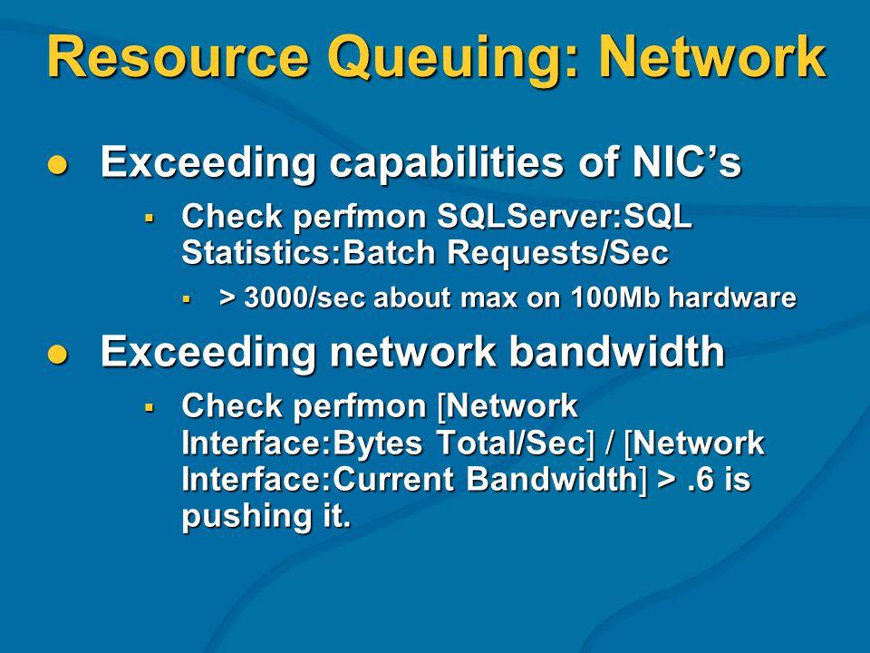 Resource Queuing: Network Exceeding capabilities of NICs Exceeding capabilities of NICs Check perfmon SQLServer:SQL Statistics:Batch Requests/Sec Chec