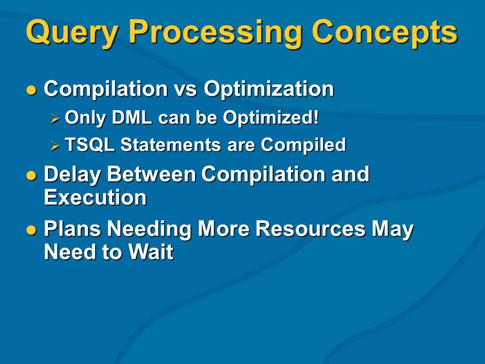 Query Processing Concepts Compilation vs Optimization Compilation vs Optimization Only DML can be Optimized! Only DML can be Optimized! TSQL Statement