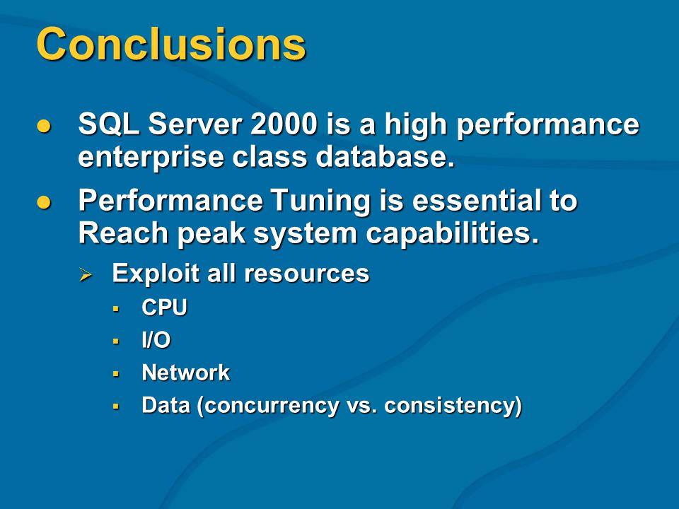 Conclusions SQL Server 2000 is a high performance enterprise class database.