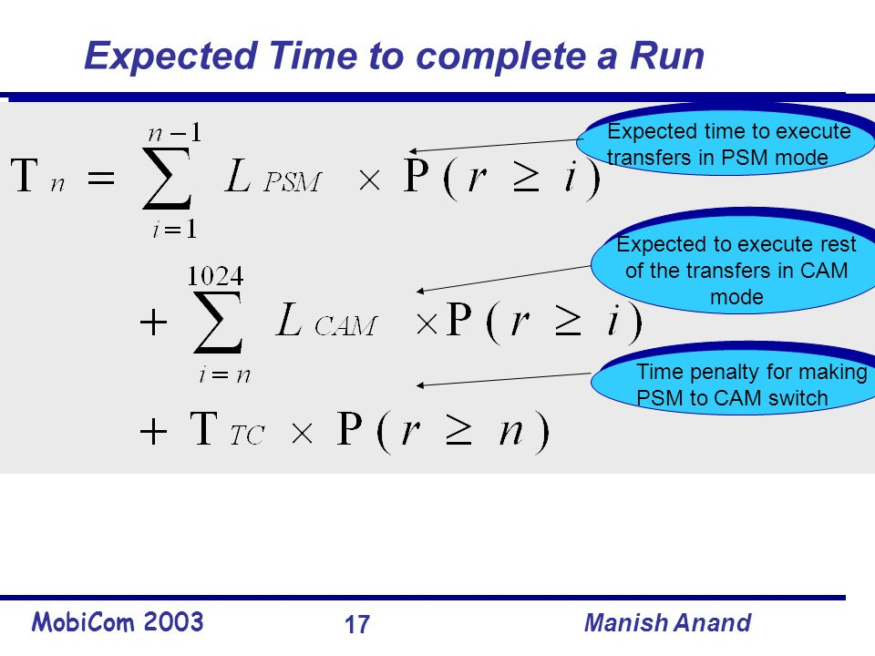 MobiCom 2003 Manish Anand 17 Expected Time to complete a Run Expected time to execute transfers in PSM mode Expected to execute rest of the transfers in CAM mode Time penalty for making a PSM to CAM switch