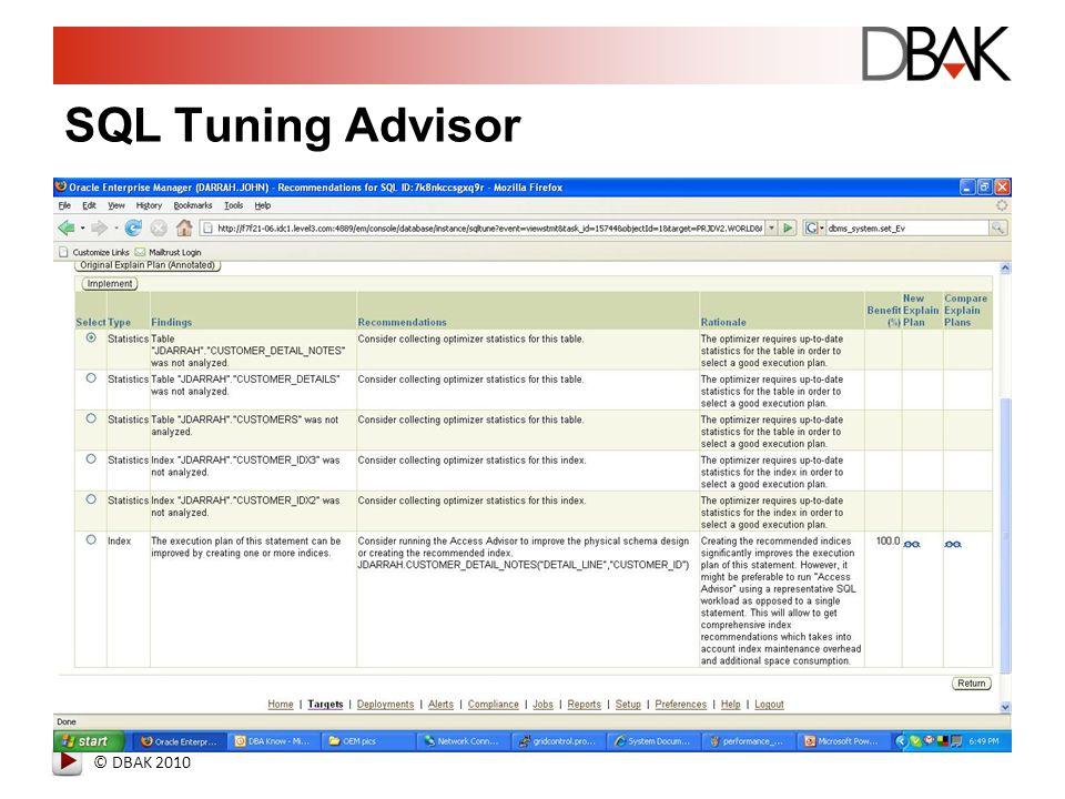 © DBAK 2010 SQL Tuning Advisor
