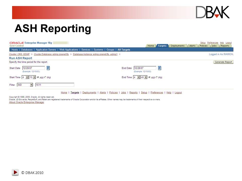 © DBAK 2010 ASH Reporting