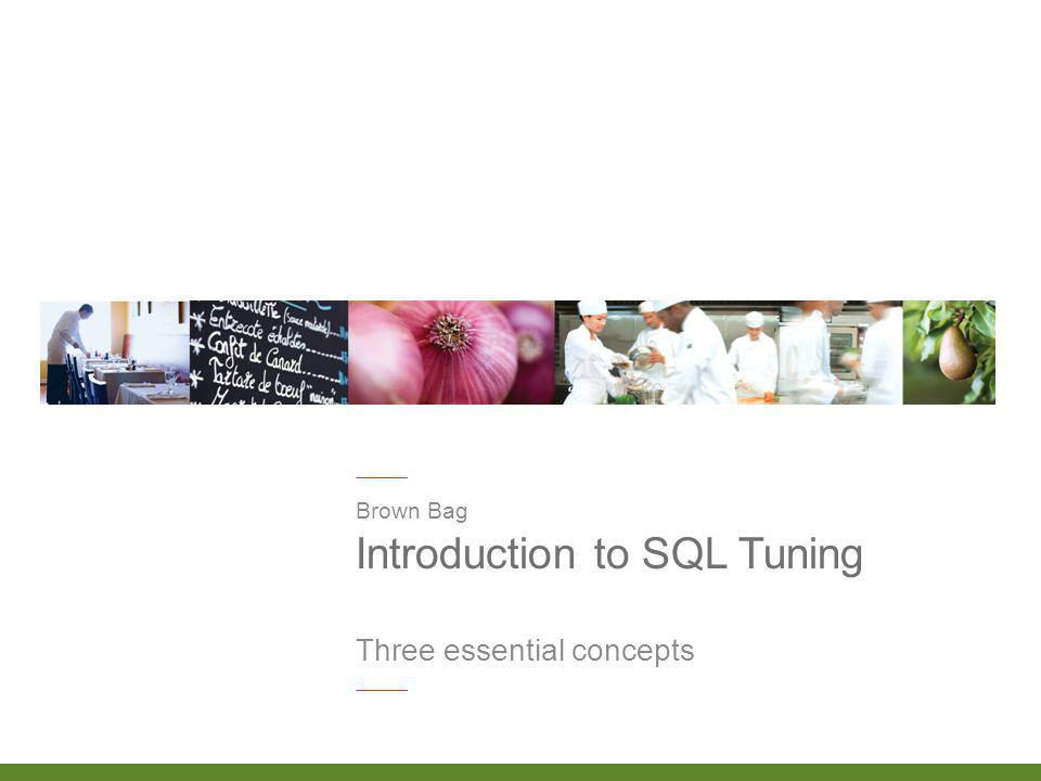 Introduction to SQL Tuning Brown Bag Three essential concepts