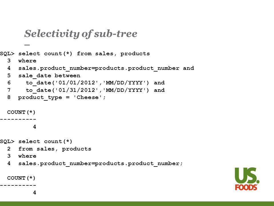 Selectivity of sub-tree SQL> select count(*) from sales, products 3 where 4 sales.product_number=products.product_number and 5 sale_date between 6 to_date( 01/01/2012 , MM/DD/YYYY ) and 7 to_date( 01/31/2012 , MM/DD/YYYY ) and 8 product_type = Cheese ; COUNT(*) SQL> select count(*) 2 from sales, products 3 where 4 sales.product_number=products.product_number; COUNT(*)