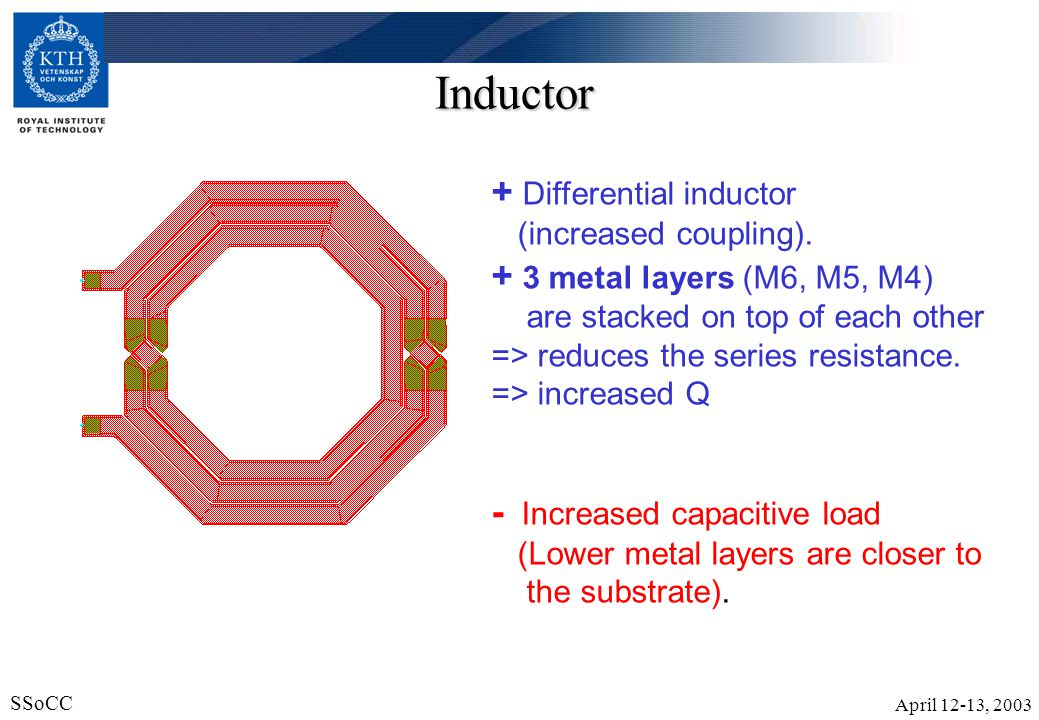 April 12-13, 2003 SSoCC 14 Inductor + Differential inductor (increased coupling). + 3 metal layers (M6, M5, M4) are stacked on top of each other => re