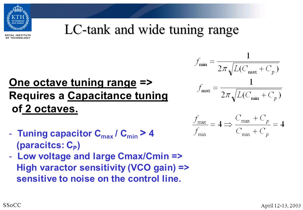 April 12-13, 2003 SSoCC 6 Discrete tuning Bandswitching The switched capacitors are used as band selectors (coarse tuning) Channel selection is performed digitally.