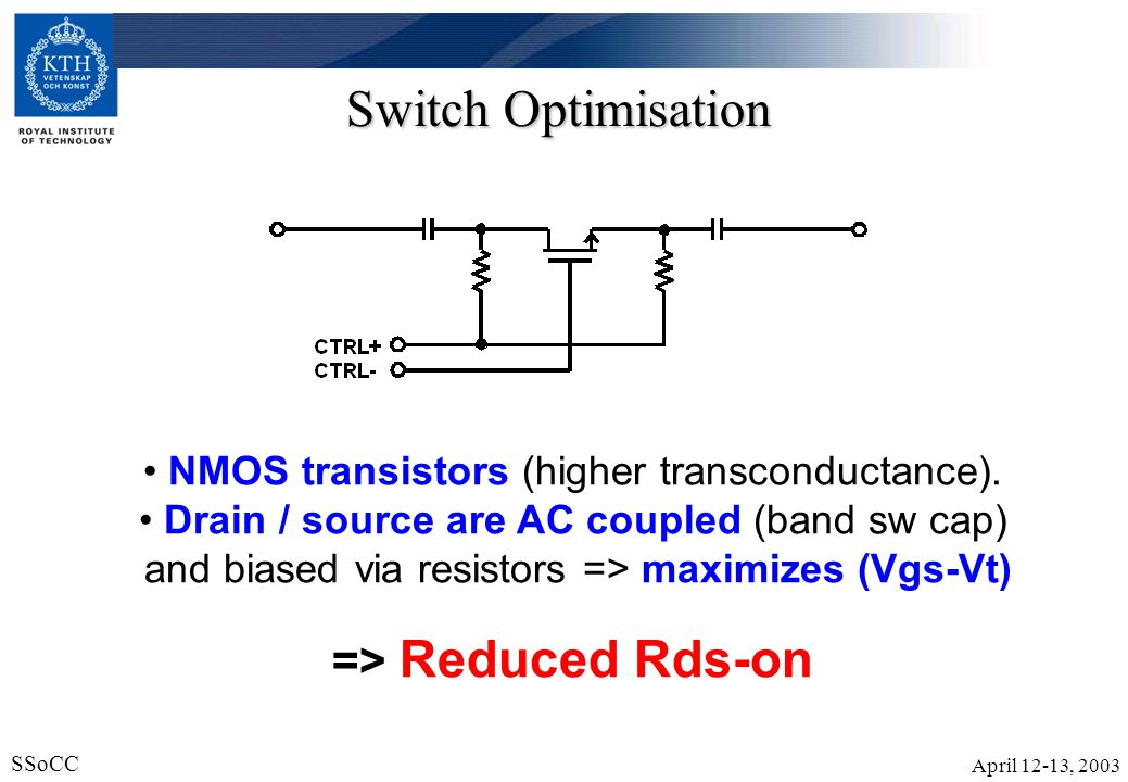 April 12-13, 2003 SSoCC 20 VCO The band selection also controlles the biasing current.