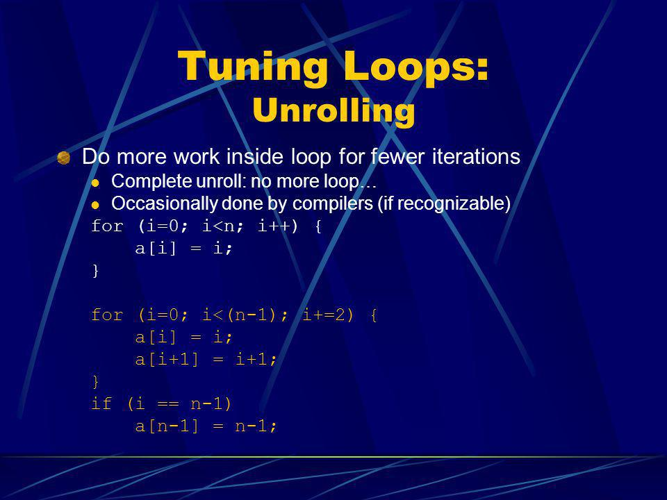 Tuning Loops: Unrolling Do more work inside loop for fewer iterations Complete unroll: no more loop… Occasionally done by compilers (if recognizable)