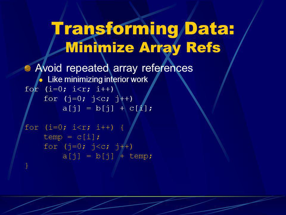 Transforming Data: Minimize Array Refs Avoid repeated array references Like minimizing interior work for (i=0; i<r; i++) for (j=0; j<c; j++) a[j] = b[