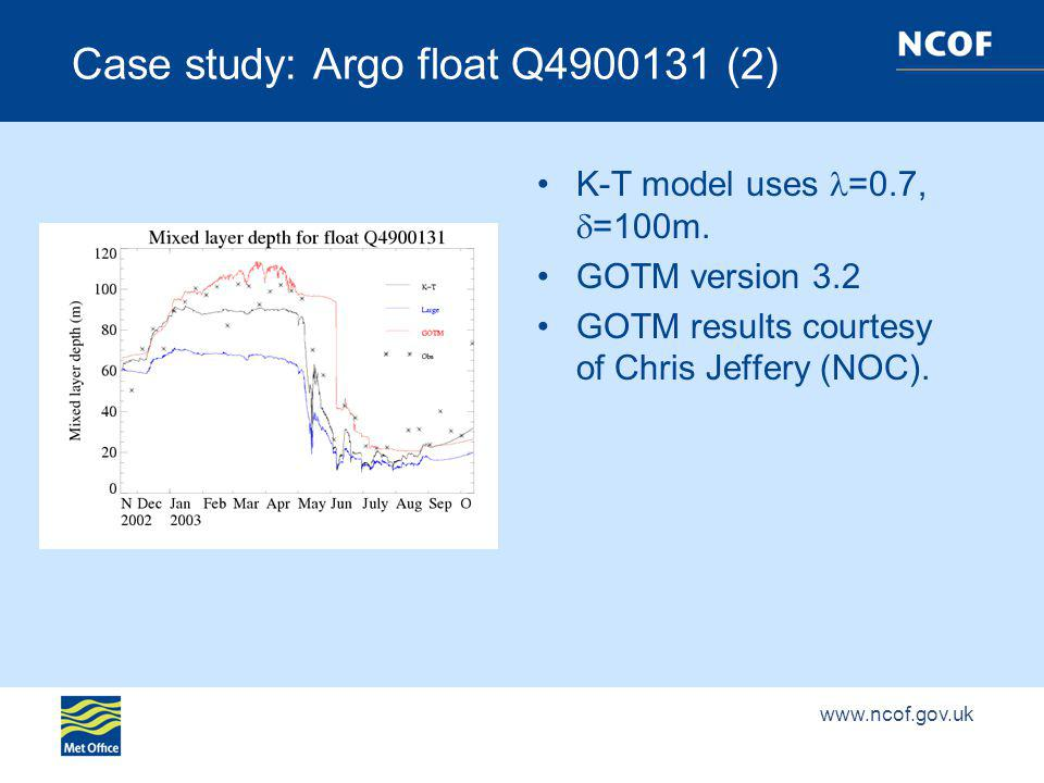 Case study: Argo float Q (2) K-T model uses =0.7, =100m.