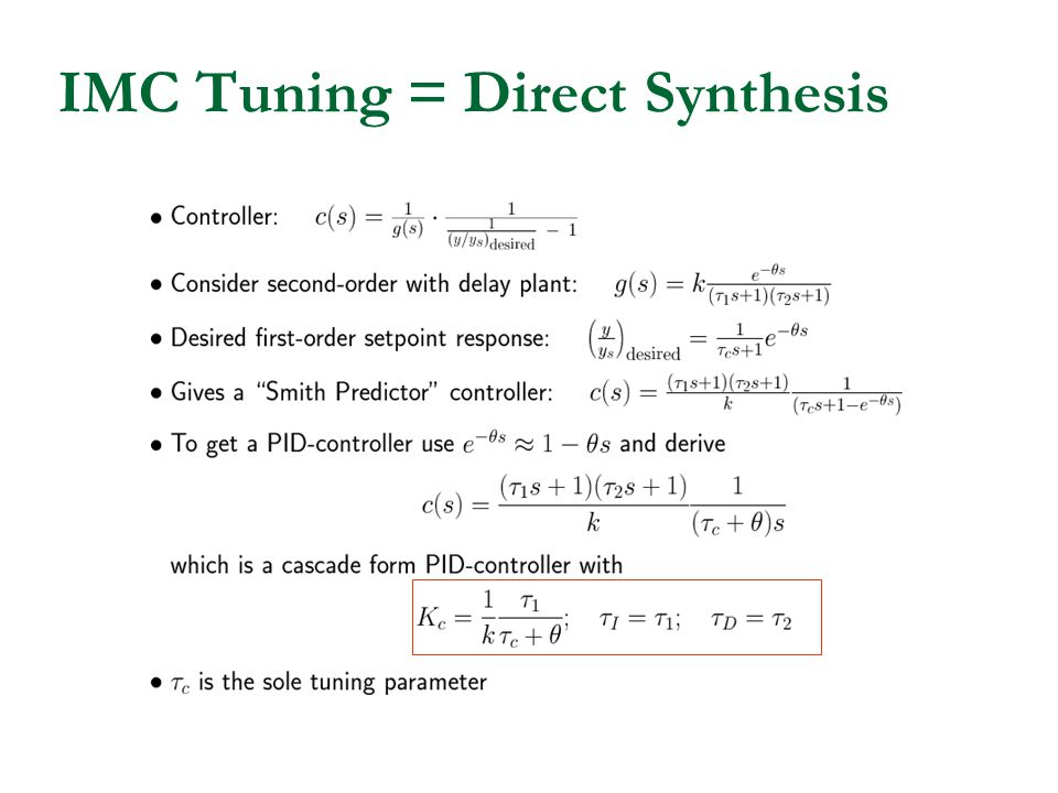 IMC Tuning = Direct Synthesis