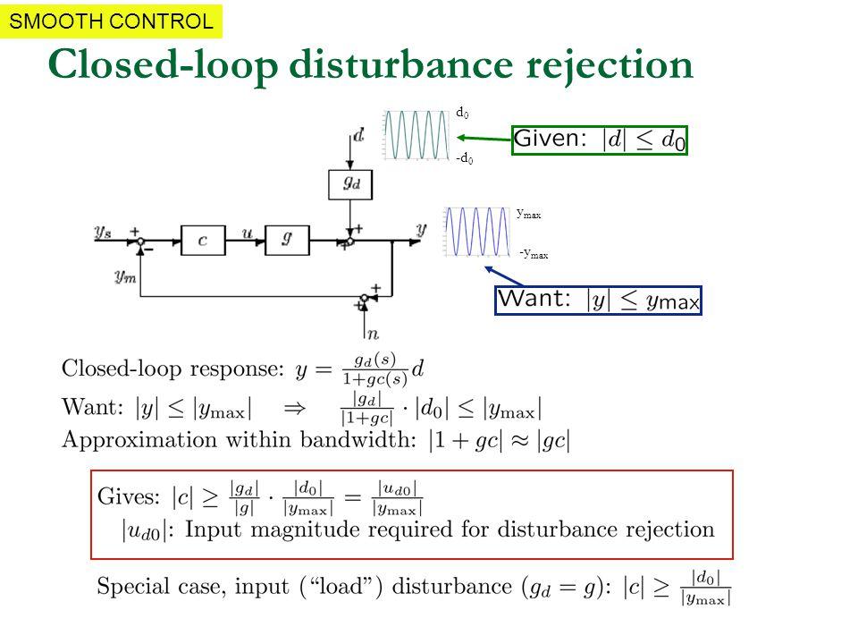 Closed-loop disturbance rejection d0d0 y max -d 0 -y max SMOOTH CONTROL