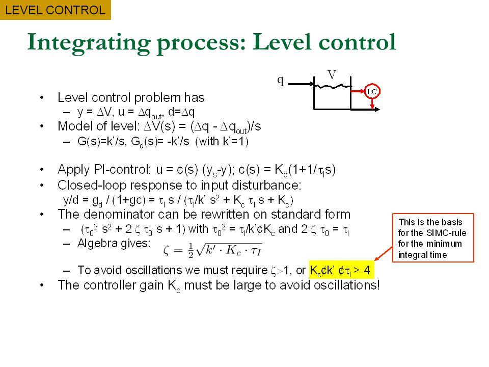 Integrating process: Level control LEVEL CONTROL