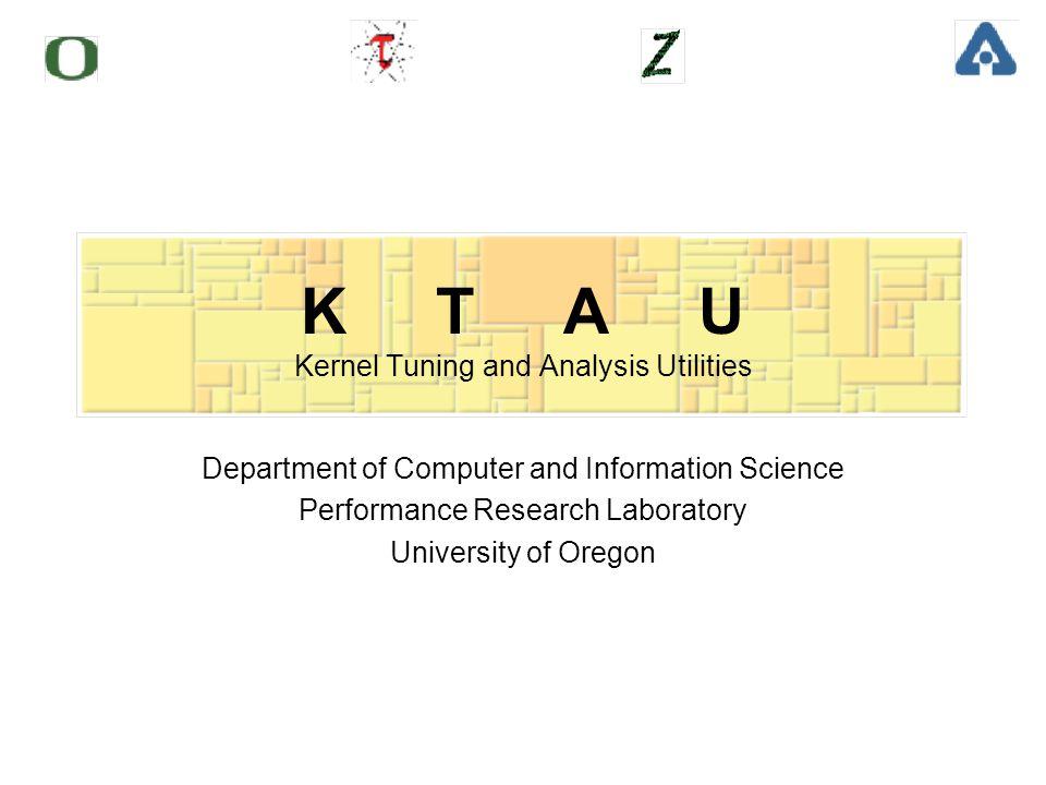 University of Oregon Performance Research Lab Agenda Motivations KTAU Overview ZeptoOS - KTAU - TAU on BG/L KTAU - TAU on Linux Cluster