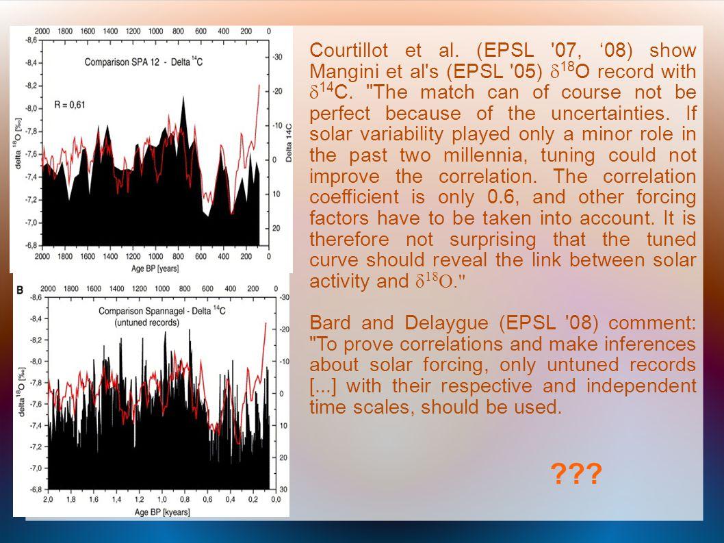 Courtillot et al. (EPSL '07, 08) show Mangini et al's (EPSL '05) 18 O record with 14 C.
