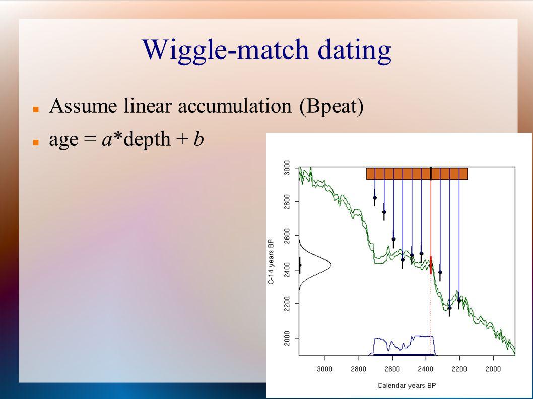 Wiggle-match dating Assume linear accumulation (Bpeat) age = a*depth + b