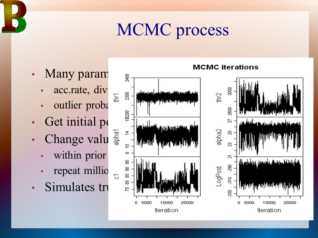 MCMC process Many parameters acc.rate, division depth and hiatus per section outlier probability every date Get initial point estimate all parameters