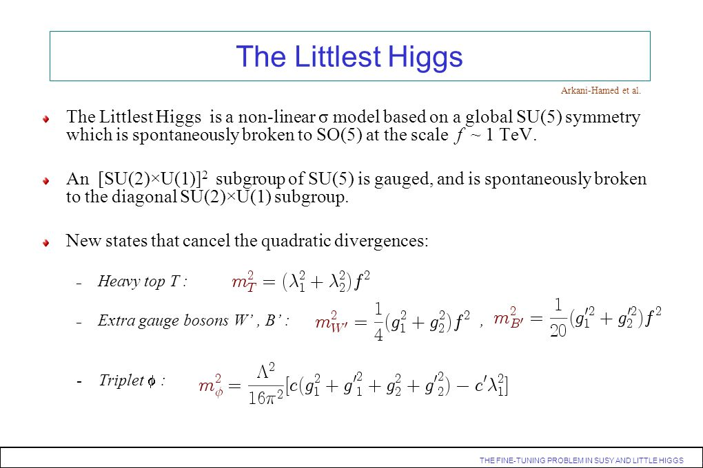 THE FINE-TUNING PROBLEM IN SUSY AND LITTLE HIGGS. The Littlest Higgs is a non-linear σ model based on a global SU(5) symmetry which is spontaneously b