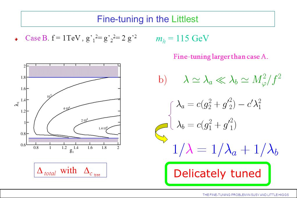 THE FINE-TUNING PROBLEM IN SUSY AND LITTLE HIGGS. Fine-tuning in the Littlest Case B. f = 1TeV, g 1 2 = g 2 2 = 2 g 2 m h = 115 GeV total with c tree