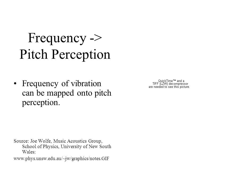 Vibration -> Pitch Perception Many sounds (including vowels in speech and musical tones) consist of repeating wave patterns When the rate of these rep