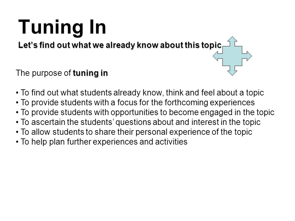 Tuning In Lets find out what we already know about this topic tuning in The purpose of tuning in To find out what students already know, think and fee