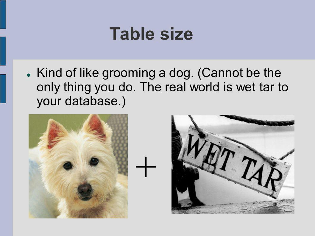 Table size Kind of like grooming a dog. (Cannot be the only thing you do.