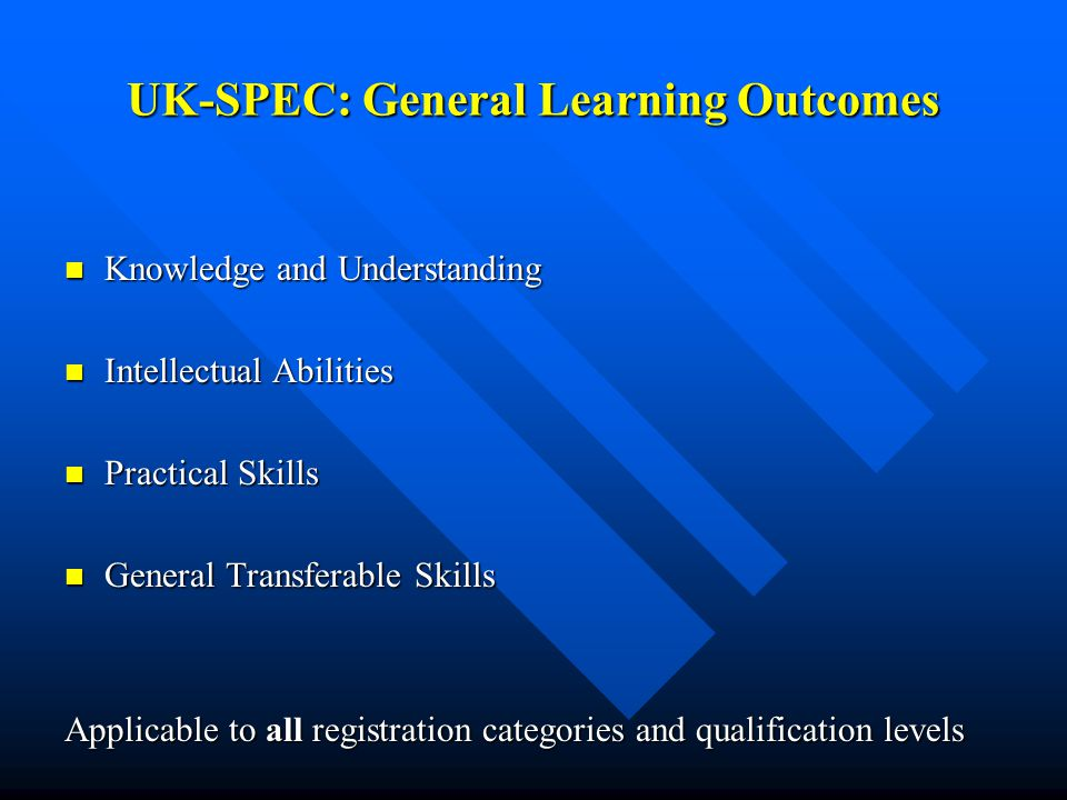 UK-SPEC: General Learning Outcomes Knowledge and Understanding Knowledge and Understanding Intellectual Abilities Intellectual Abilities Practical Skills Practical Skills General Transferable Skills General Transferable Skills Applicable to all registration categories and qualification levels