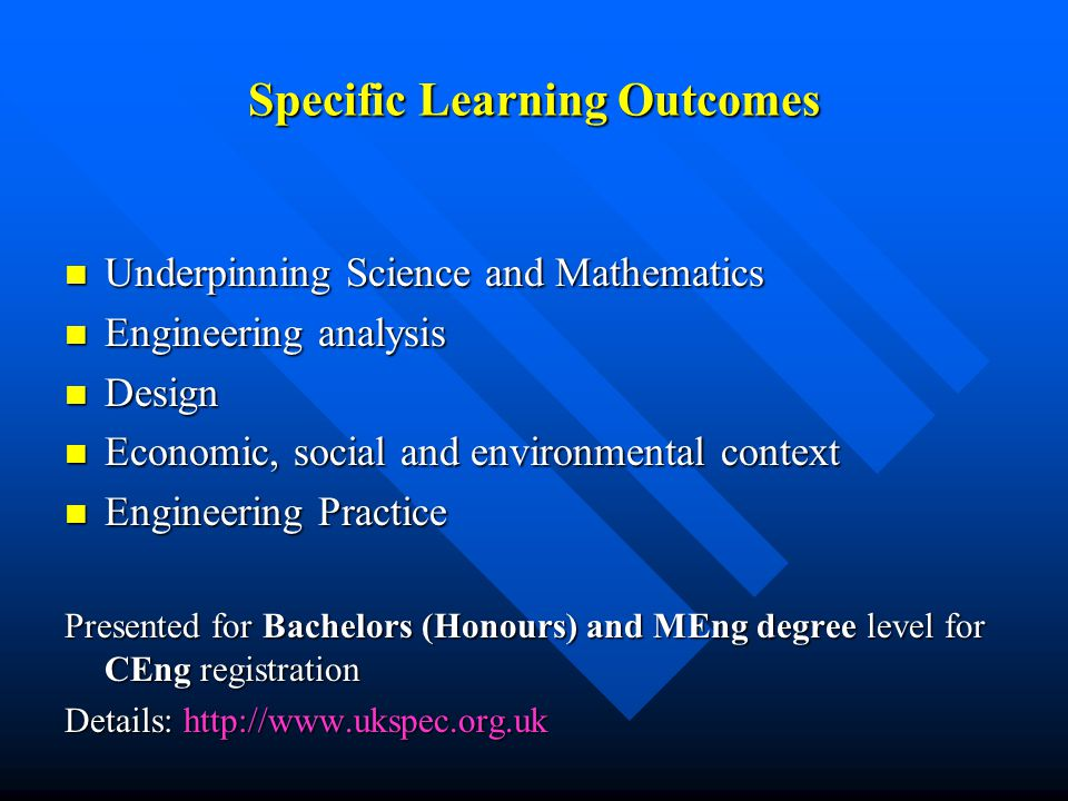 Specific Learning Outcomes Underpinning Science and Mathematics Underpinning Science and Mathematics Engineering analysis Engineering analysis Design Design Economic, social and environmental context Economic, social and environmental context Engineering Practice Engineering Practice Presented for Bachelors (Honours) and MEng degree level for CEng registration Details: http://www.ukspec.org.uk