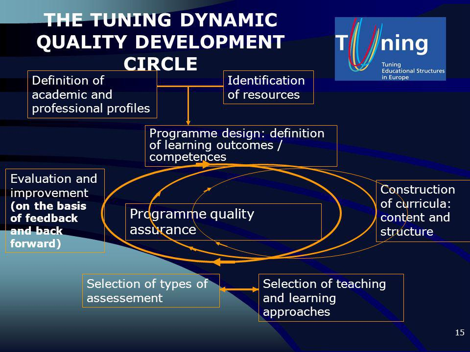 15 THE TUNING DYNAMIC QUALITY DEVELOPMENT CIRCLE Definition of academic and professional profiles Programme design: definition of learning outcomes /