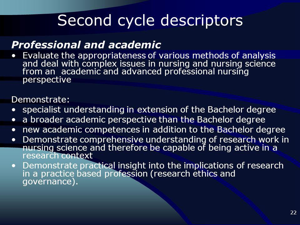 22 Second cycle descriptors Professional and academic Evaluate the appropriateness of various methods of analysis and deal with complex issues in nurs
