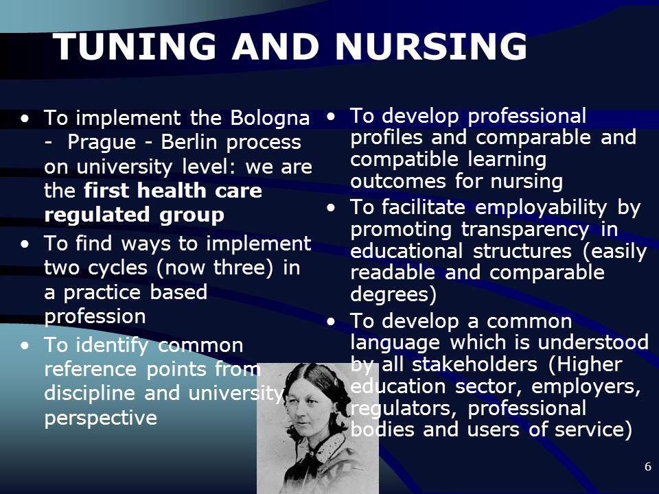 6 TUNING AND NURSING To implement the Bologna - Prague - Berlin process on university level: we are the first health care regulated group To find ways