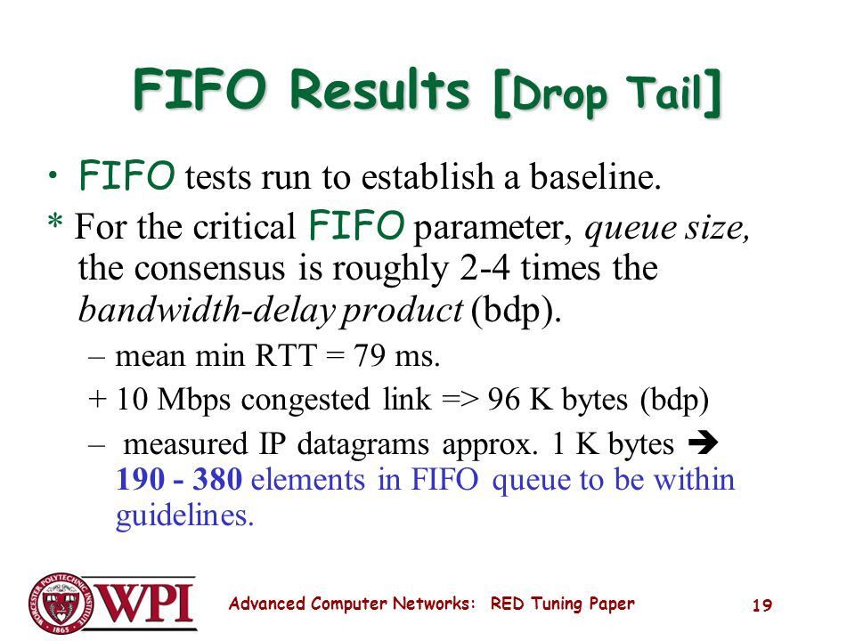 Advanced Computer Networks: RED Tuning Paper 19 FIFO Results [ Drop Tail ] FIFO tests run to establish a baseline.