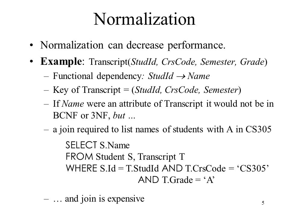 5 Normalization Normalization can decrease performance.