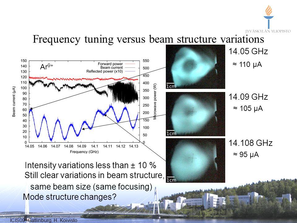 ICIS09, Gatlinburg, H. Koivisto Frequency tuning versus beam structure variations Ar 9+ Intensity variations less than ± 10 % Still clear variations i