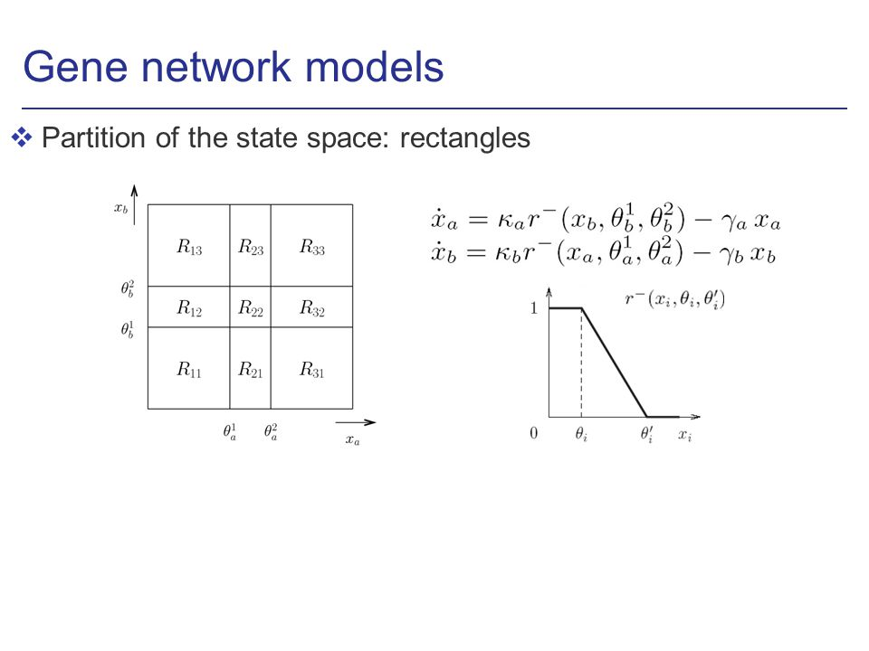 Gene network models vPartition of the state space: rectangles