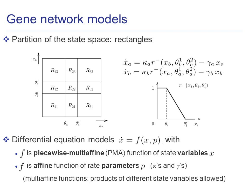 Gene network models vPartition of the state space: rectangles vDifferential equation models, with l is piecewise-multiaffine (PMA) function of state variables l is affine function of rate parameters ( s and s) (multiaffine functions: products of different state variables allowed)