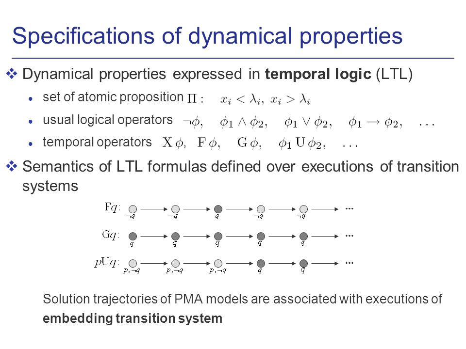 Specifications of dynamical properties vDynamical properties expressed in temporal logic (LTL) l set of atomic proposition usual logical operators temporal operators, vSemantics of LTL formulas defined over executions of transition systems Solution trajectories of PMA models are associated with executions of embedding transition system...