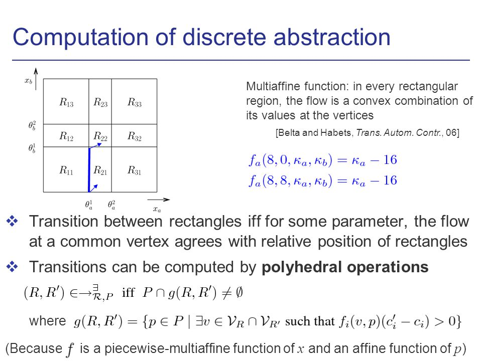 Computation of discrete abstraction vTransition between rectangles iff for some parameter, the flow at a common vertex agrees with relative position o