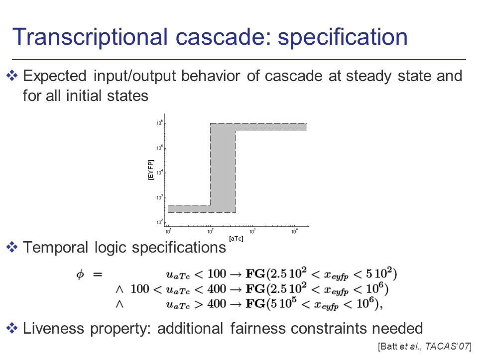 Transcriptional cascade: specification vExpected input/output behavior of cascade at steady state and for all initial states vTemporal logic specifications vLiveness property: additional fairness constraints needed [Batt et al., TACAS07]