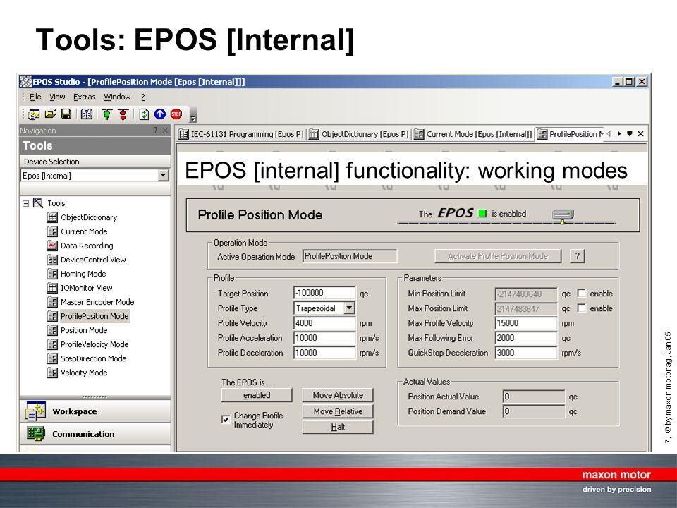 7, © by maxon motor ag, Jan 05 Tools: EPOS [Internal] EPOS [internal] functionality: working modes