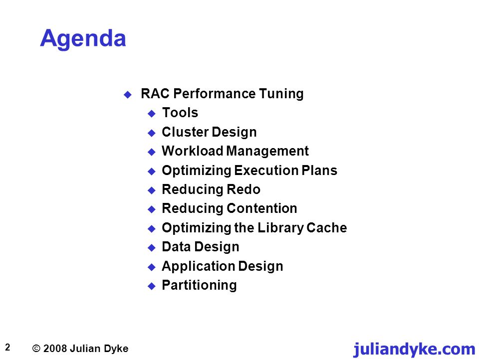 © 2008 Julian Dyke juliandyke.com 63 Application Design PL/SQL Bulk Collect DECLARE-- 100000 row table l_c3 NUMBER; CURSOR c1 IS SELECT c3 FROM t1; BEGIN OPEN c1; LOOP FETCH c1 INTO l_c3;-- 3.052 seconds EXIT WHEN c1%NOTFOUND; END LOOP; CLOSE c1; END; DECLARE -- 100000 row table TYPE NUMTYPE IS TABLE OF NUMBER(6) INDEX BY BINARY_INTEGER; l_c3 NUMTYPE; CURSOR c1 IS SELECT c3 FROM t1; BEGIN OPEN c1; LOOP FETCH c1 BULK COLLECT INTO l_c3;-- 0.119 seconds EXIT WHEN c1%NOTFOUND; END LOOP; CLOSE c1; END;