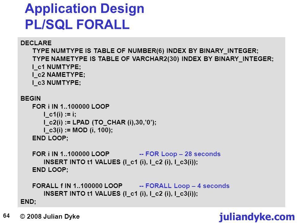 © 2008 Julian Dyke juliandyke.com 64 Application Design PL/SQL FORALL DECLARE TYPE NUMTYPE IS TABLE OF NUMBER(6) INDEX BY BINARY_INTEGER; TYPE NAMETYPE IS TABLE OF VARCHAR2(30) INDEX BY BINARY_INTEGER; l_c1 NUMTYPE; l_c2 NAMETYPE; l_c3 NUMTYPE; BEGIN FOR i IN 1..100000 LOOP l_c1(i) := i; l_c2(i) := LPAD (TO_CHAR (i),30,0); l_c3(i) := MOD (i, 100); END LOOP; FOR i IN 1..100000 LOOP-- FOR Loop – 28 seconds INSERT INTO t1 VALUES (l_c1 (i), l_c2 (i), l_c3(i)); END LOOP; FORALL f IN 1..100000 LOOP-- FORALL Loop – 4 seconds INSERT INTO t1 VALUES (l_c1 (i), l_c2 (i), l_c3(i)); END;