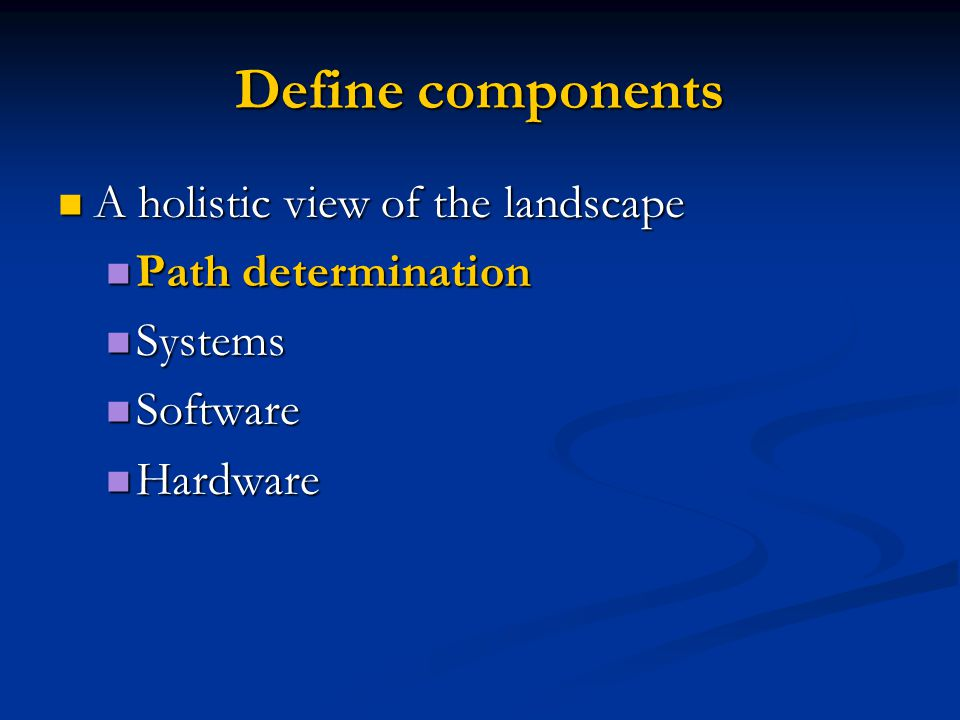 Define components A holistic view of the landscape A holistic view of the landscape Path determination Path determination Systems Systems Software Sof