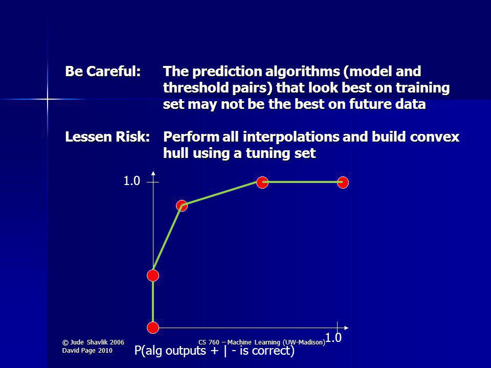 Be Careful: The prediction algorithms (model and threshold pairs) that look best on training set may not be the best on future data Lessen Risk:Perform all interpolations and build convex hull using a tuning set 1.0 P(alg outputs + | - is correct) © Jude Shavlik 2006 David Page 2010 CS 760 – Machine Learning (UW-Madison)