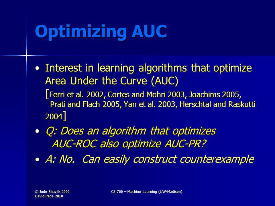 Optimizing AUC Interest in learning algorithms that optimize Area Under the Curve (AUC) [ Ferri et al.