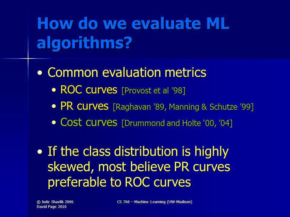 How do we evaluate ML algorithms.